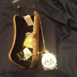 mg collection Bags - Mg collection gold / rhinestone clutch